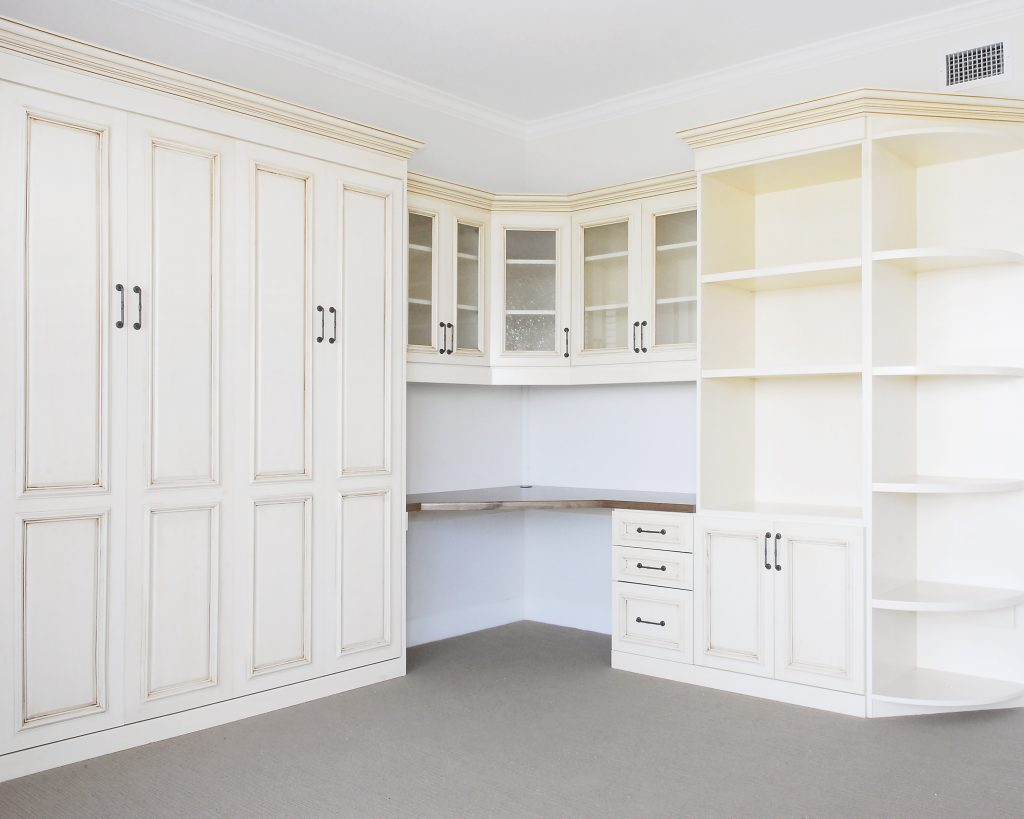 Craft Room Makeover Murphy Bed, Custom Cabinets and Drawers, Fold-Down Table, by SmartSpaces.com
