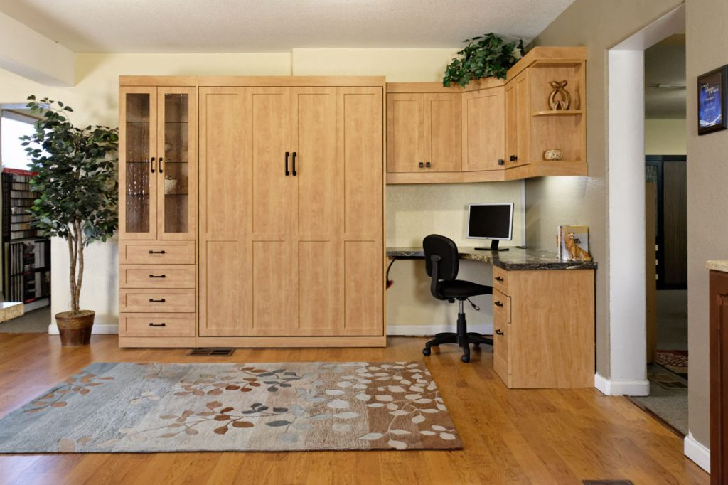 Murphy Bed + Office Space Solution, with Cabinets, drawers, shelves, desk space, and corner counter