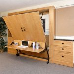 Murphy Bed with Studio Desk, with Cabinets, Drawers, Fold-down Desk