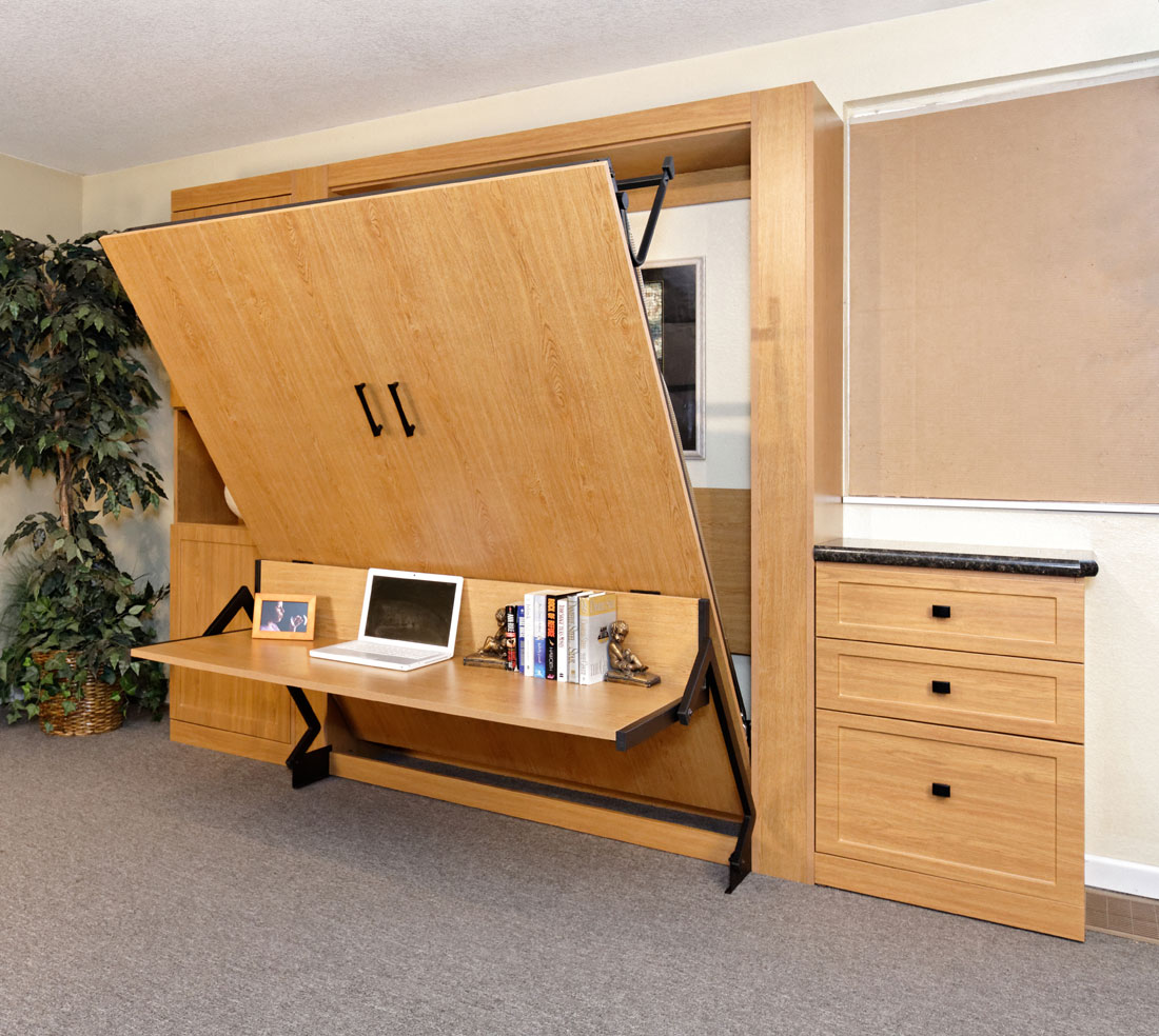 Custom Home Office Guest Room Makeover Vertical Murphy Bed Installed Custom Cabinetry Smart Spaces Murphy Bed Wall Bed Superstore Denver Colorado Space Solutions