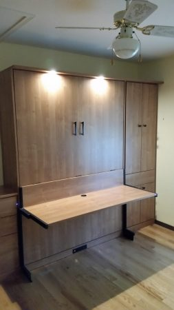 Murphy Bed with Studio Desk, Closet Cabinet, Drawers