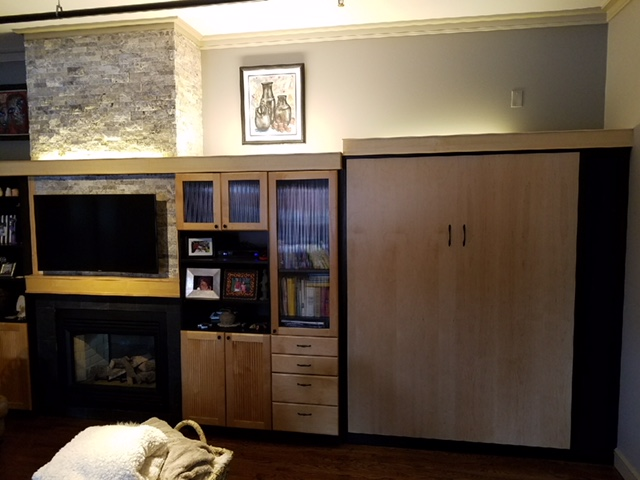 Contemporary Modern Style Murphy Bed, Living Room, Twin bed, Closed, Custom Cabinets