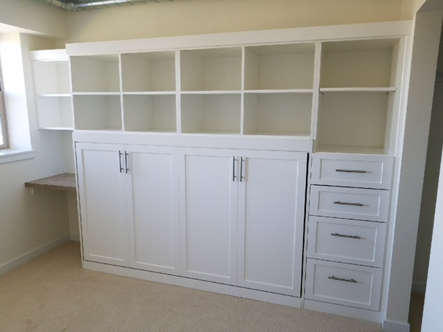 White finish, murphy bed, side, custom cabinets, drawers, closed